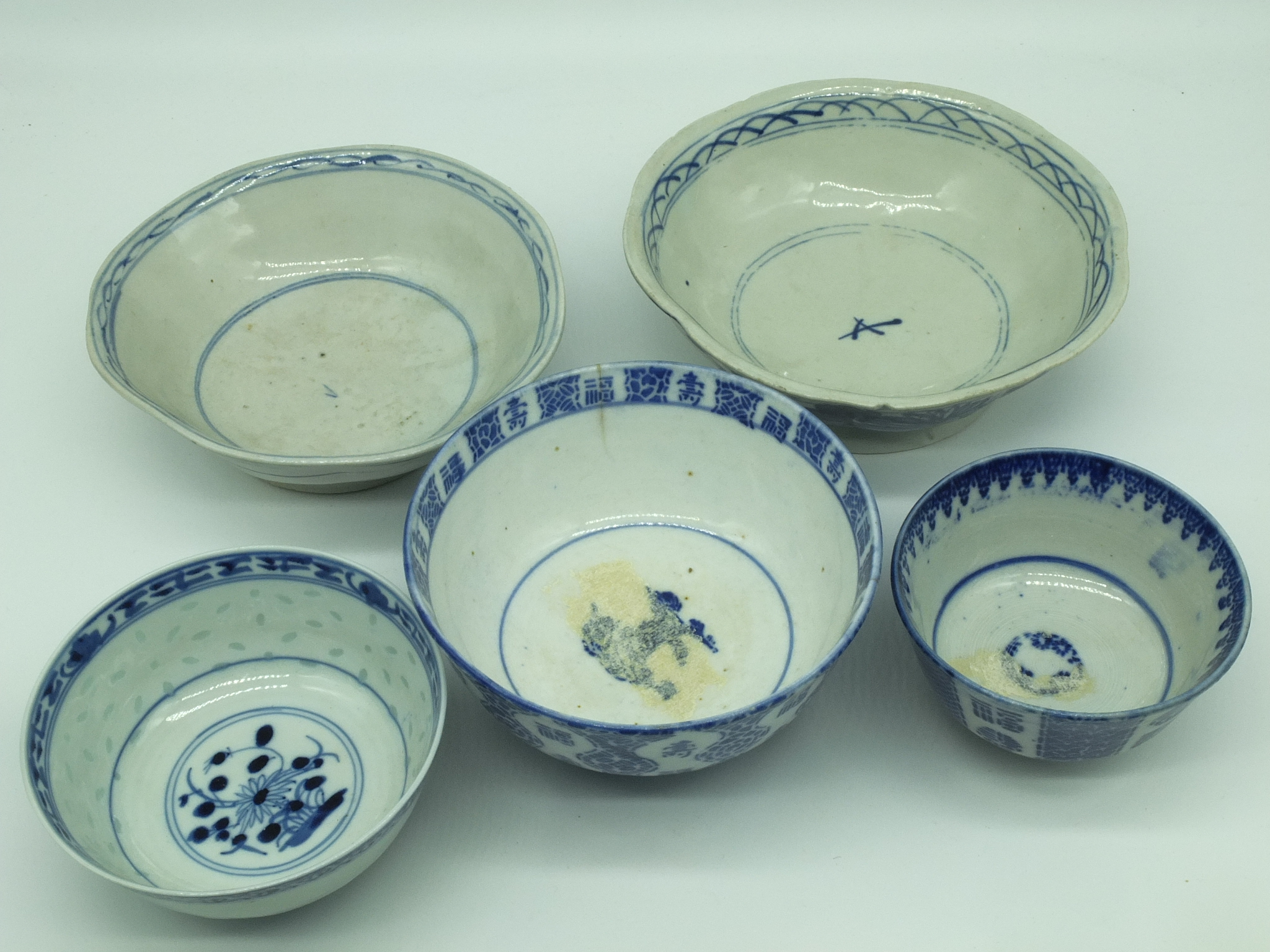 'Various Chinese Blue and White Porcelain Bowls 20th Century'