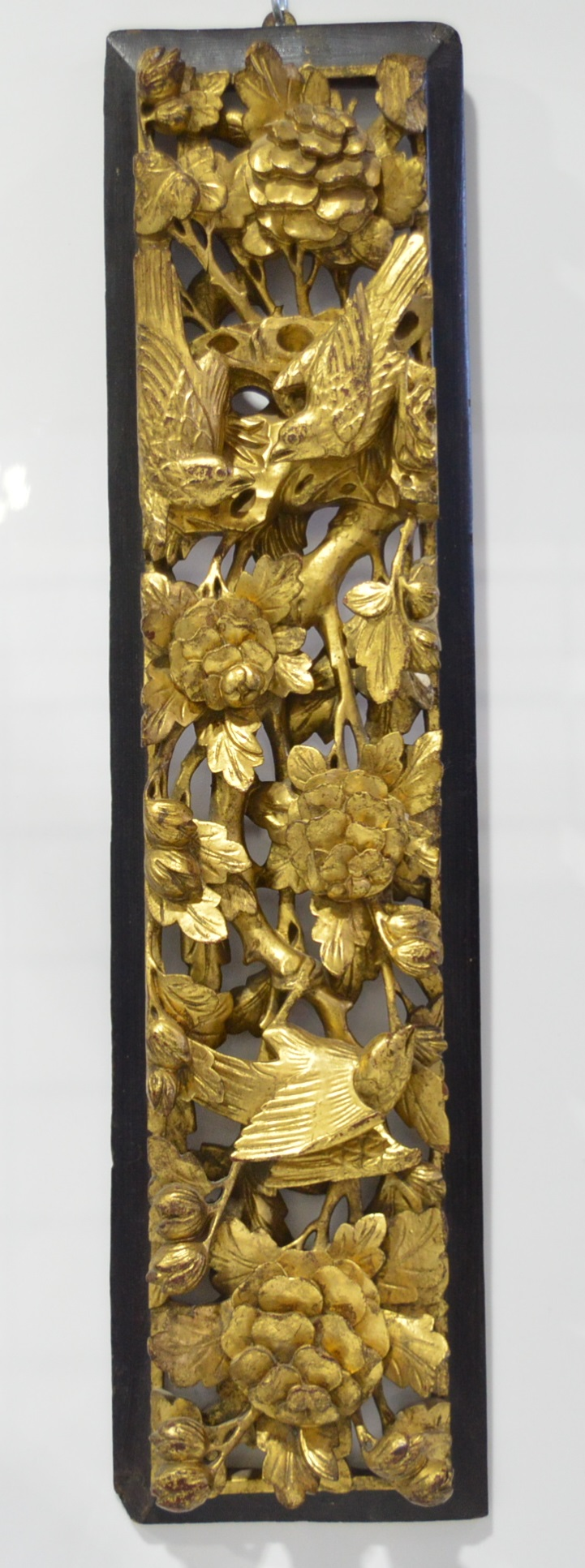 'Chinese Carved and Pierced Giltwood Panel'