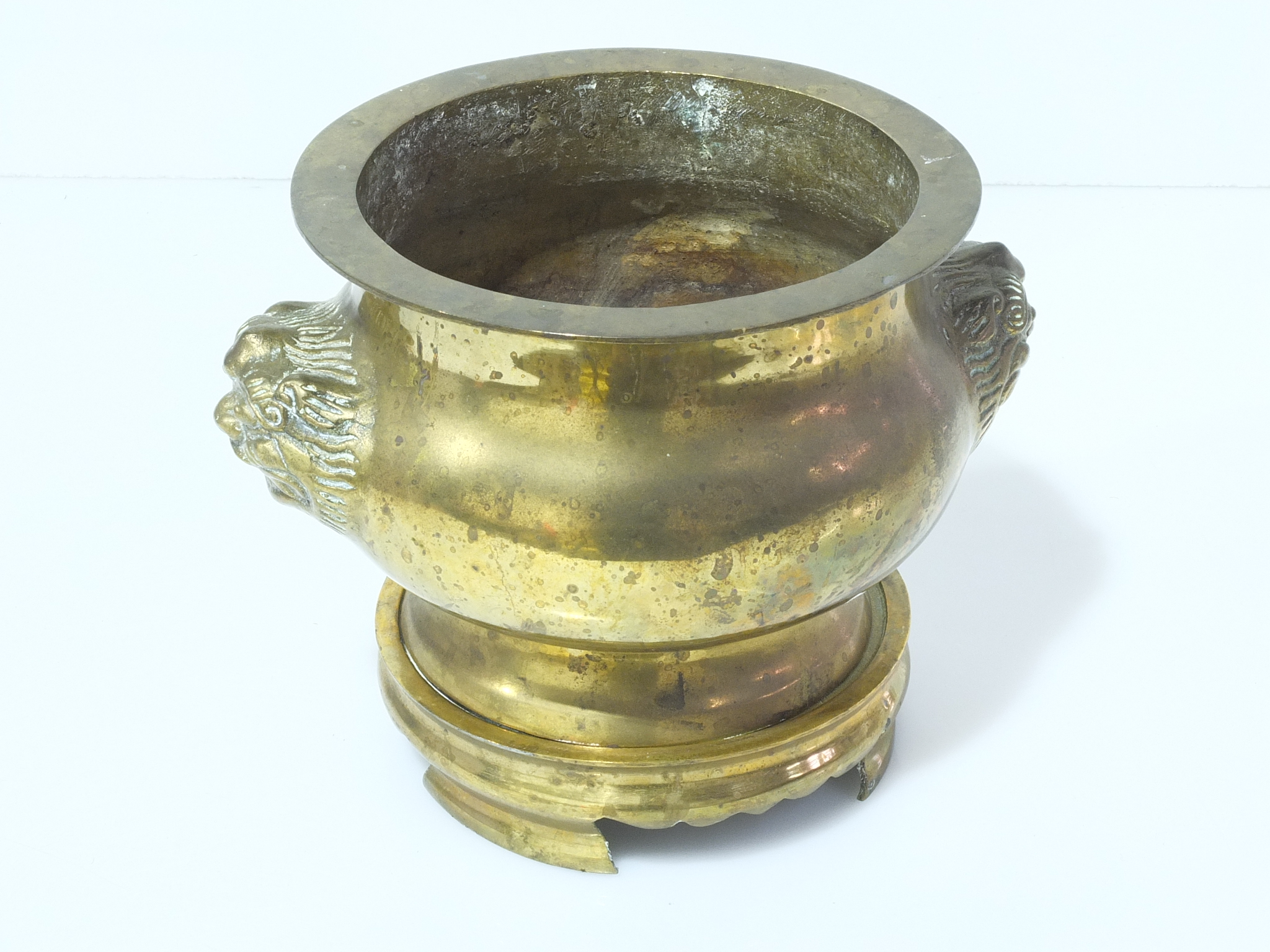 'Chinese Brass Incense Burner with Lion Mask Handles Early to Mid 20th Century'