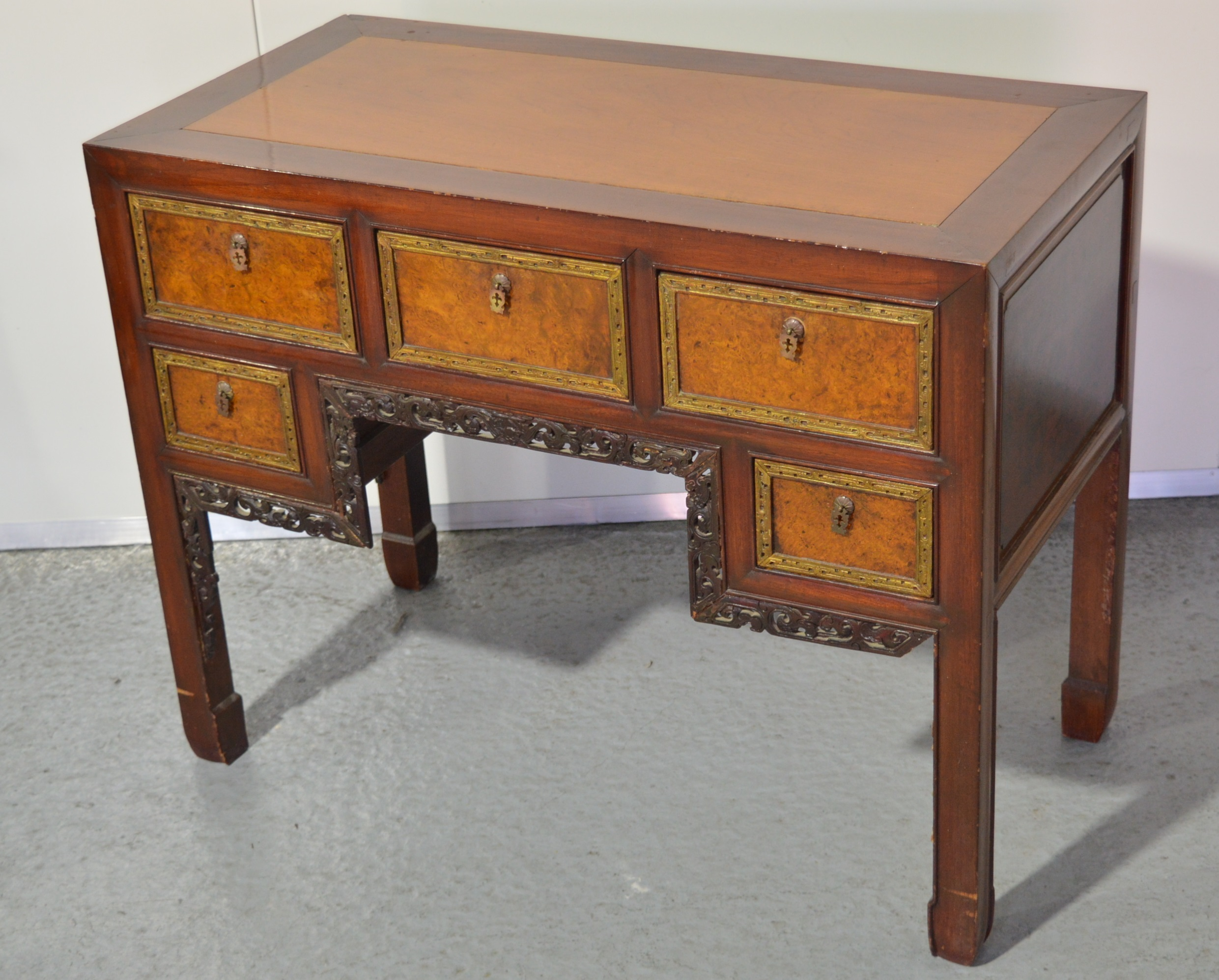 'Antique Straits Chinese Burlwood and Walnut Dressing Table'