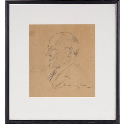 Will Dyson (1880-1938) Portrait of a Man Graphite on Paper