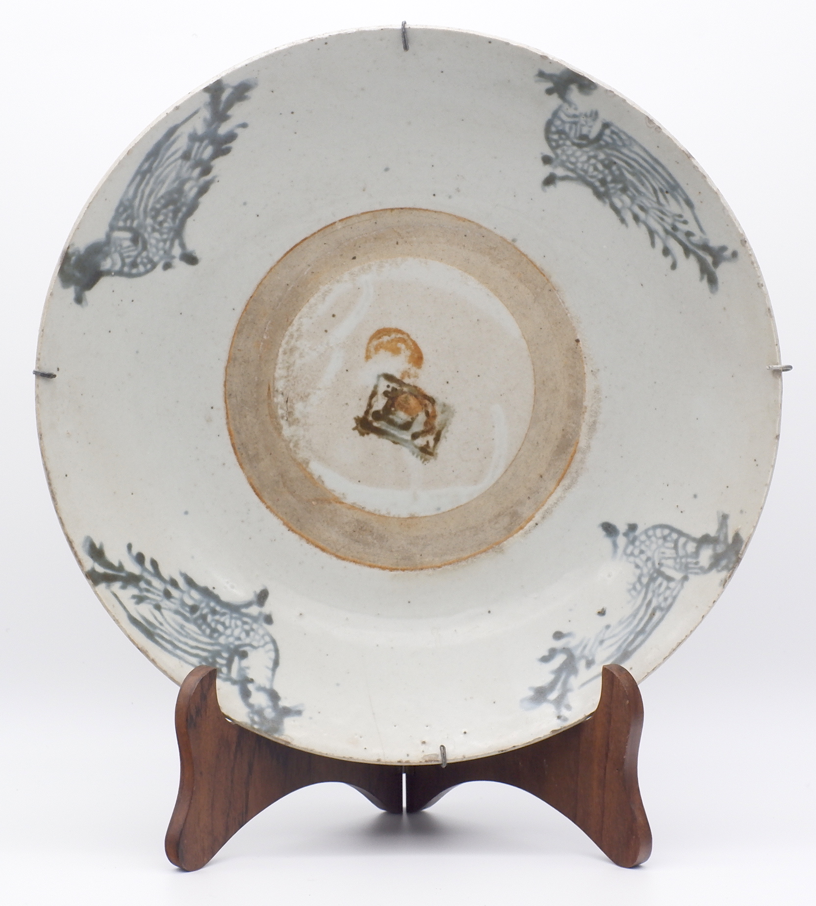 'Large Chinese Fujian Ware Dish with Block Printed Decoration of Birds and Central Character, Early 19th Century'