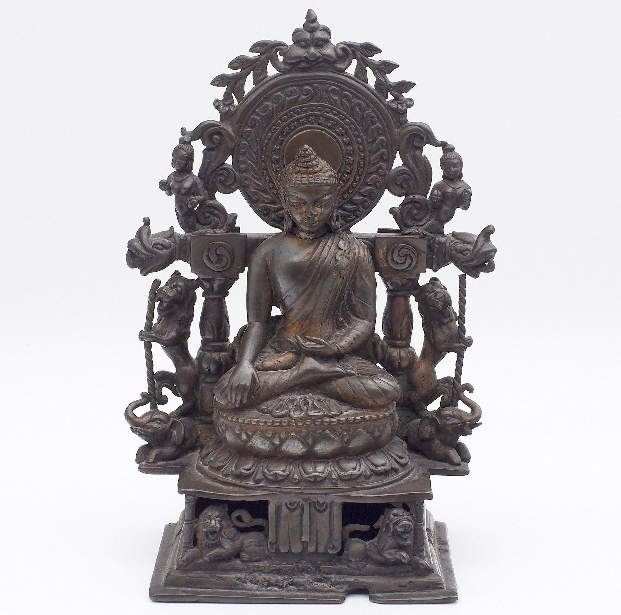 'Indian Bronze Buddha in Bhumi Sparsa Mudra'