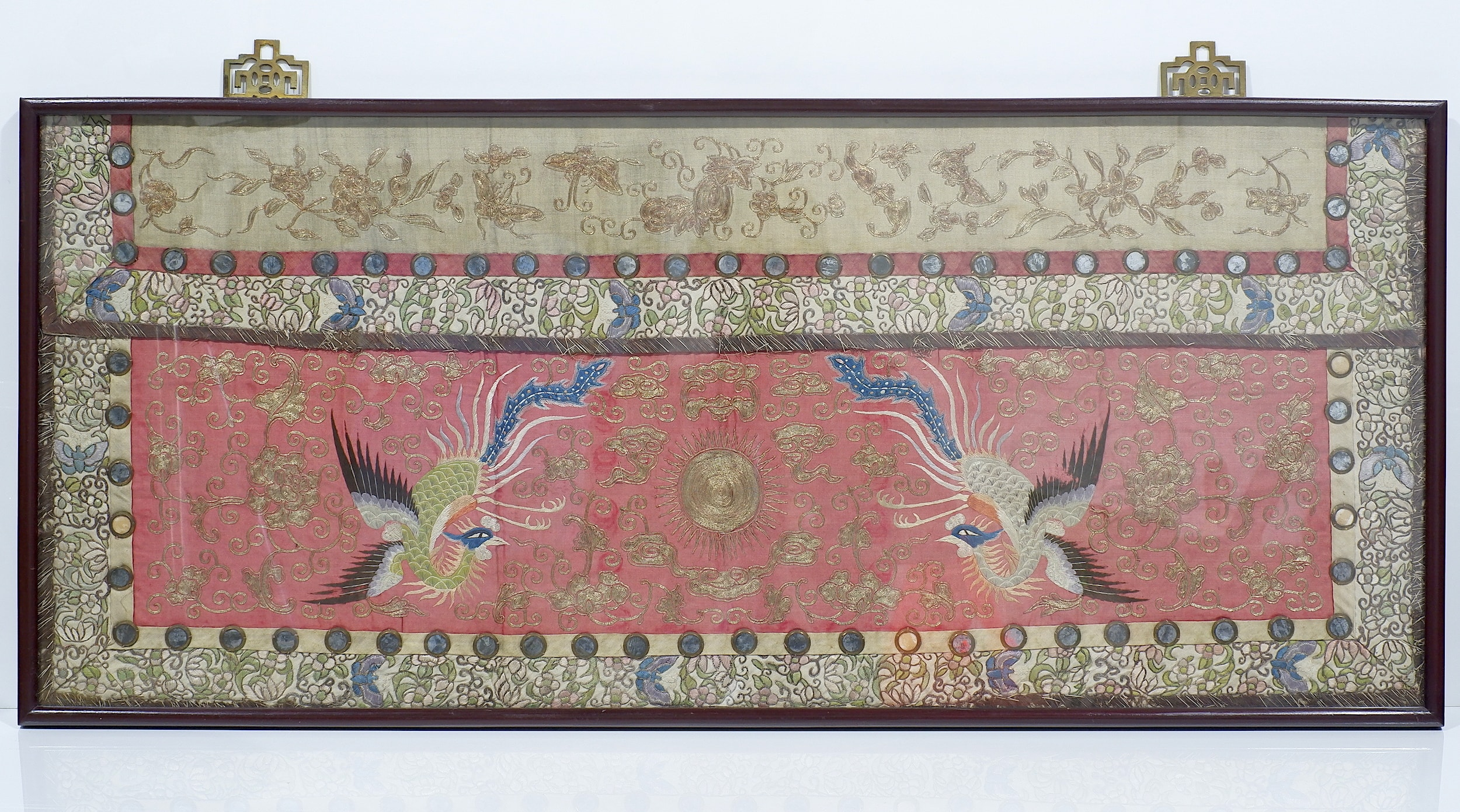 'Antique Chinese Embroidered Silk and Metal Thread Table Frontal Qing Dynasty'