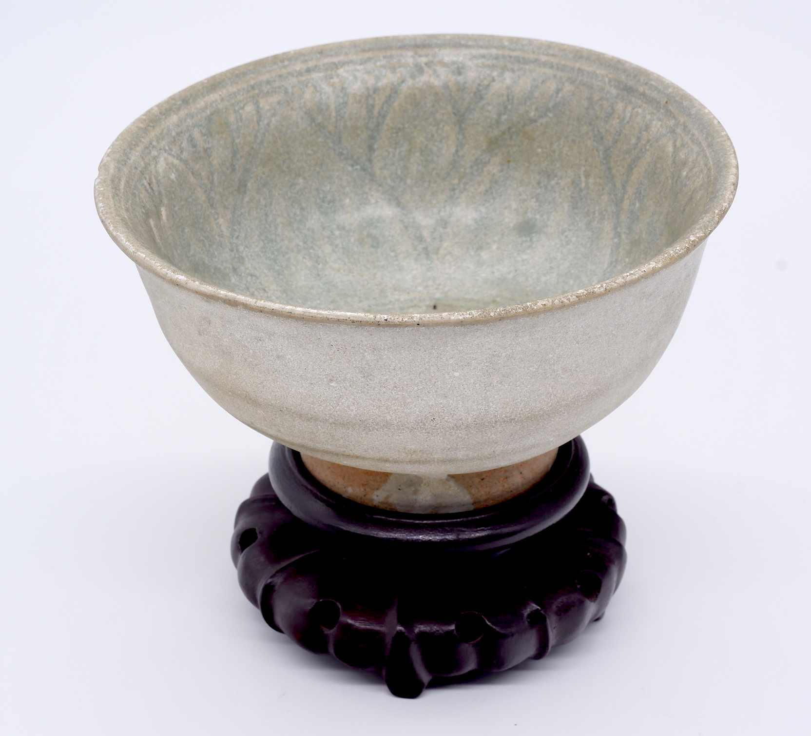 'Thai Sawankhalok Celadon Bowl Interior Carved with Lotus Petals 14th/16th Century'