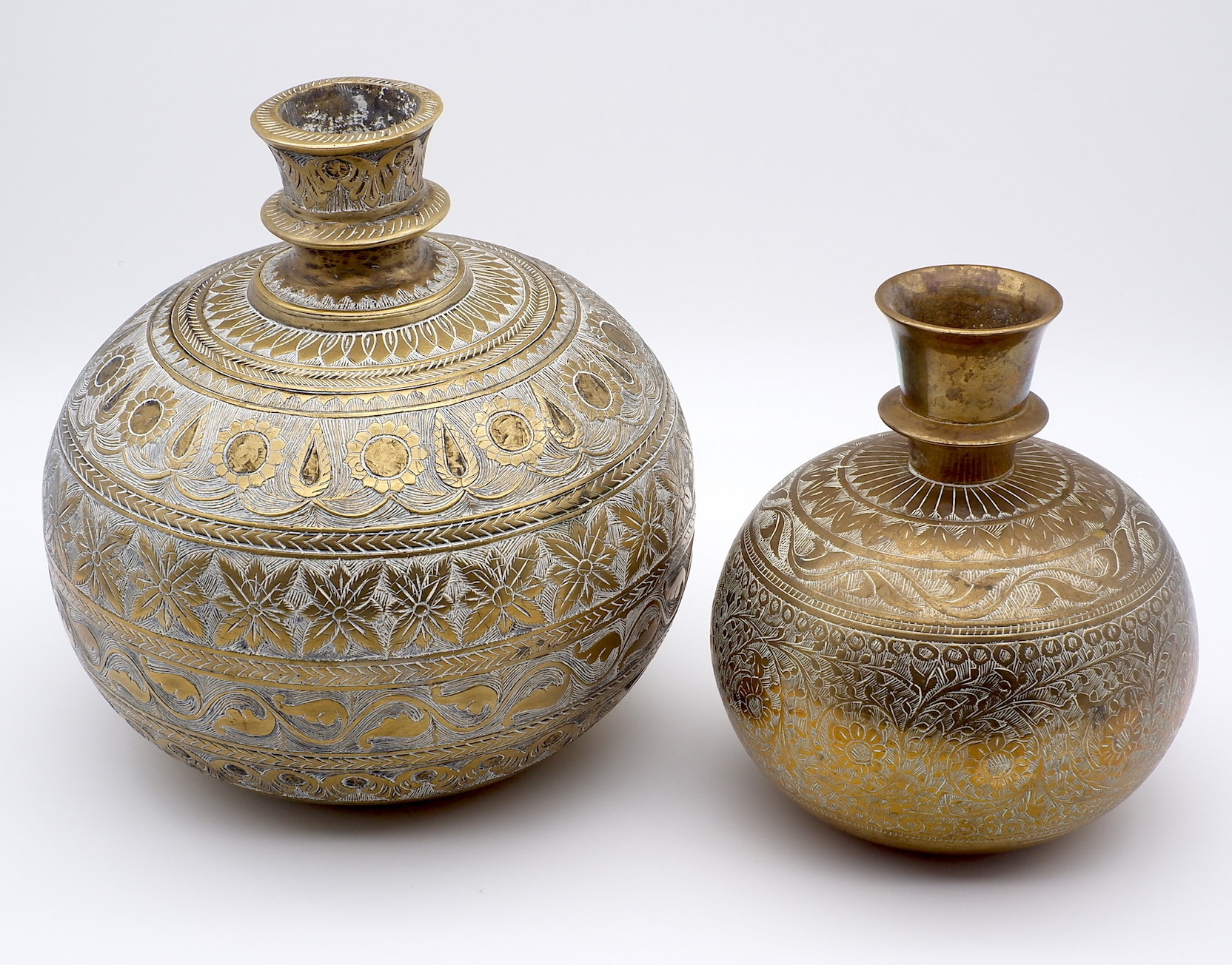 'Two Indian Mughal Cast and Engraved Brass Water Vessels or Lota, Deccan 19th or Early 20th Century'
