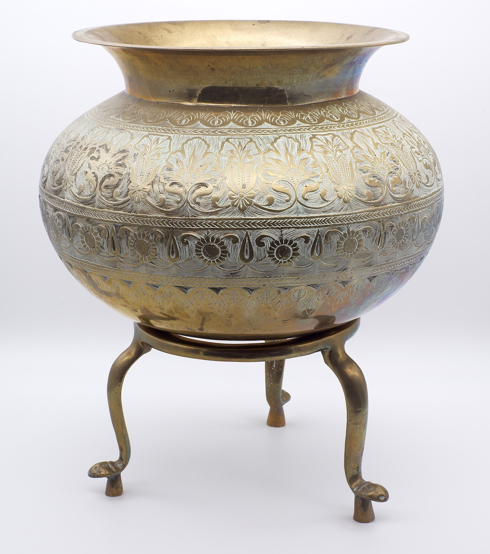 'Large Indian Cast and Engraved Brass Vessel on Stand, Deccan 19th or Early 20th Century'