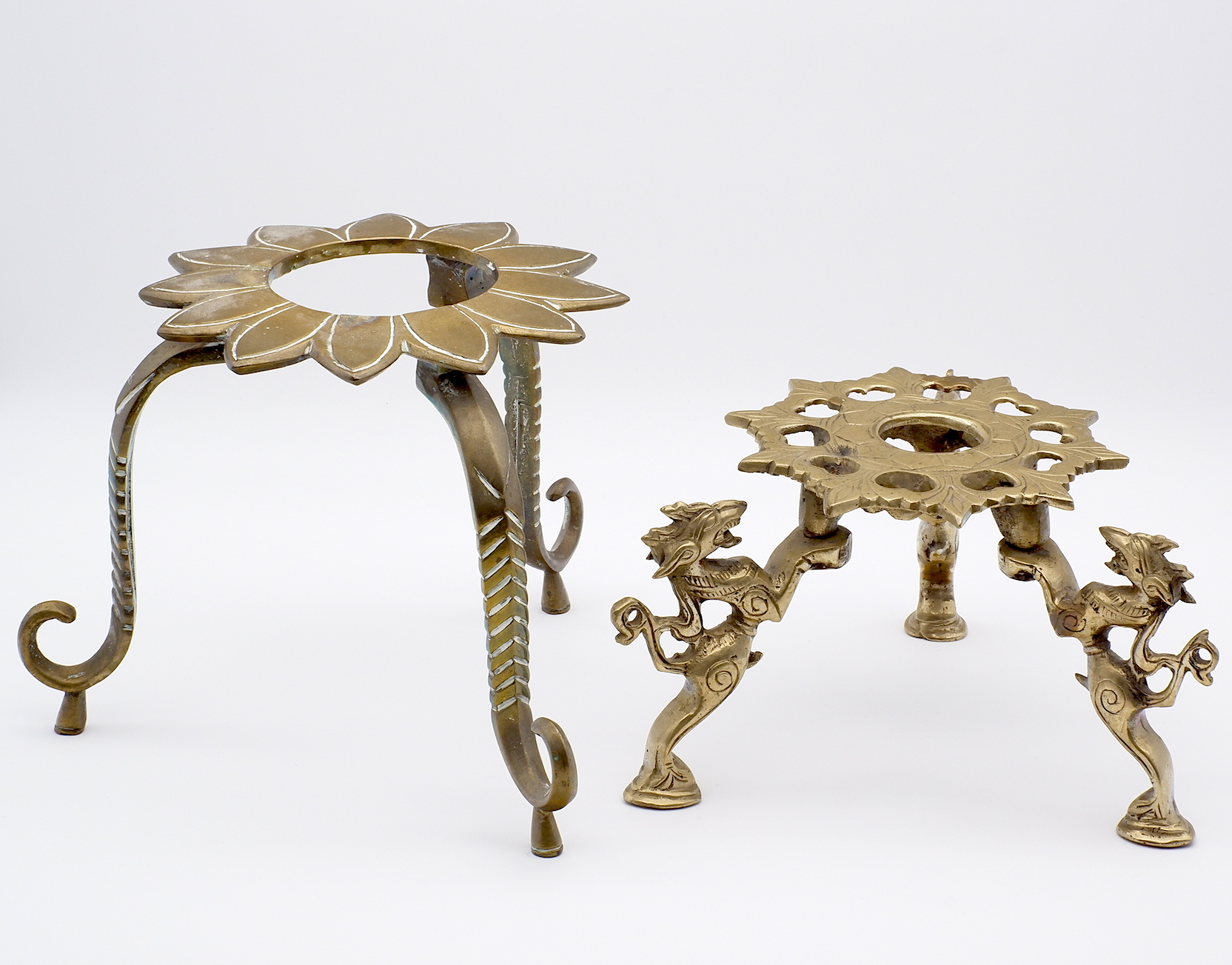 'Two Indian Mughal Cast Brass Trivets, 19th Century or Earlier'