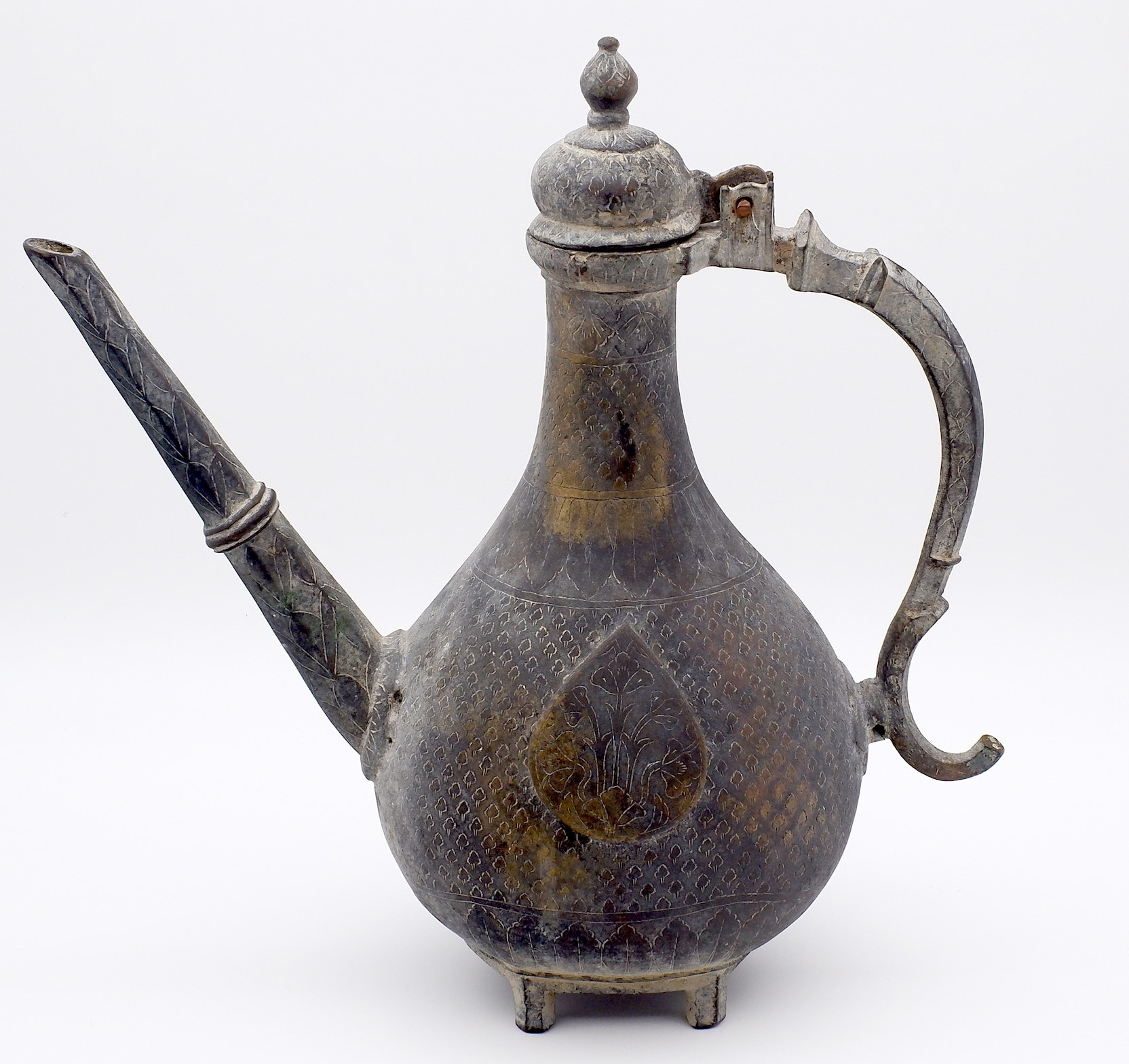 'Southern Indian Mughal Cast and Engraved Bronze Ewer Aftaba 18th Century'