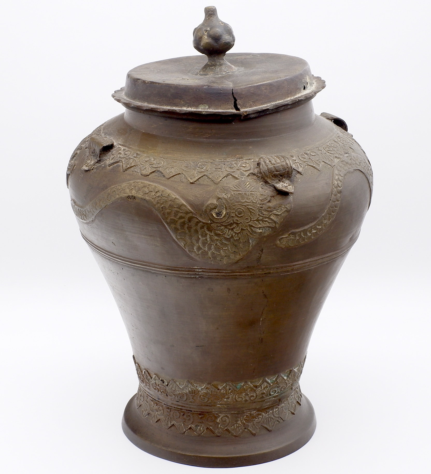 'Sarawak Cast Bronze Tajau Jar and Cover, 19th Century'
