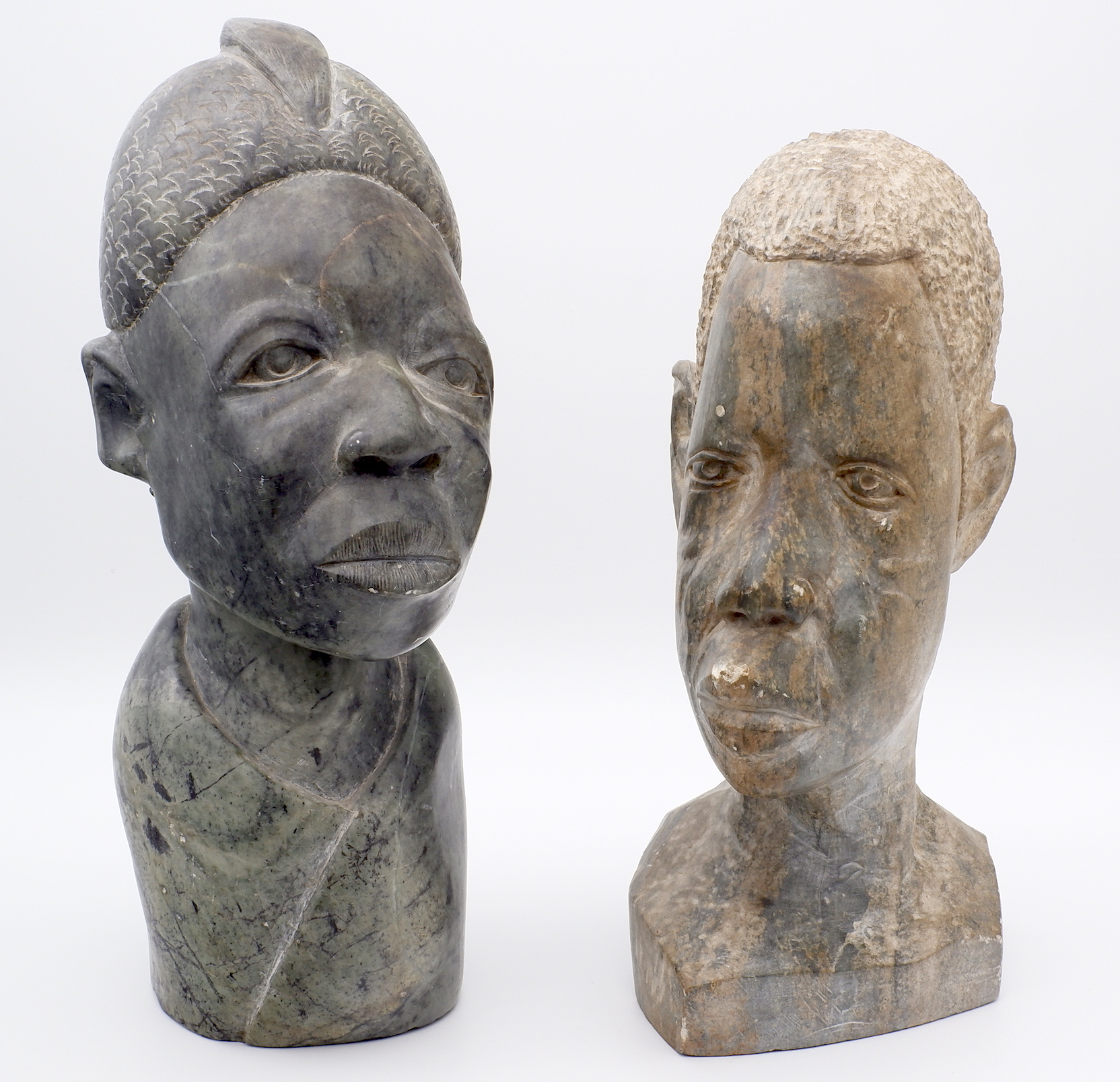 'Two Signed African Shona Stone Busts'