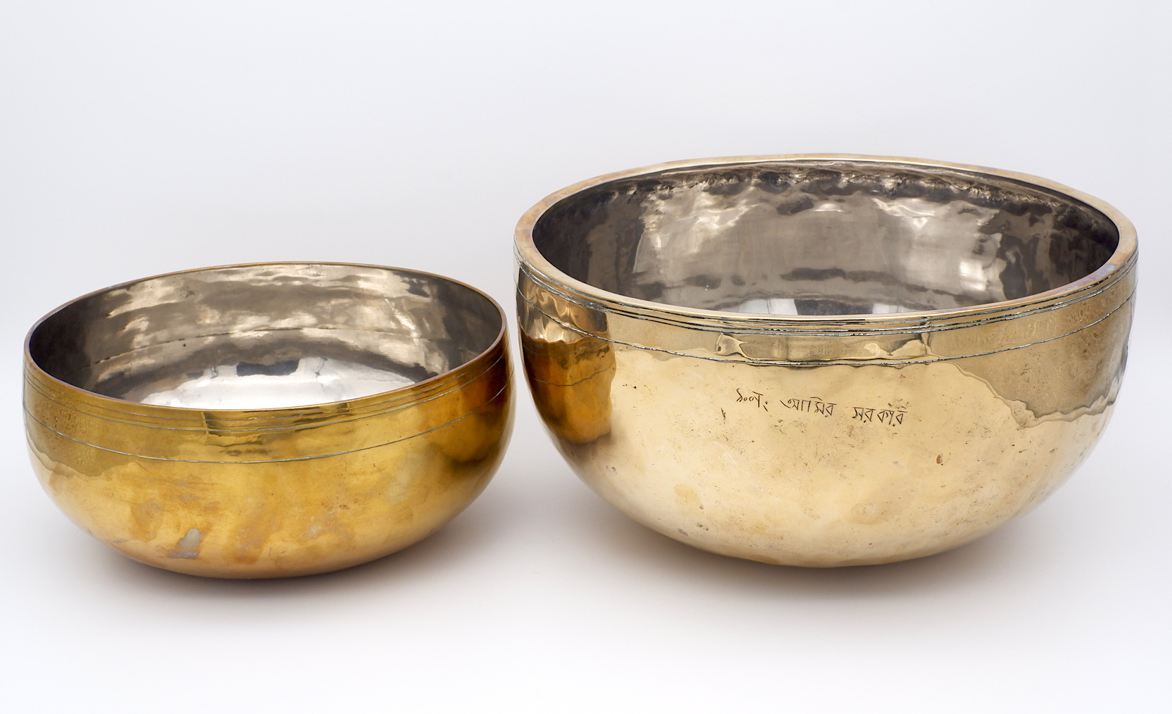 'Two Large Bangladeshi Tinned Bell Metal Singing Bowls'