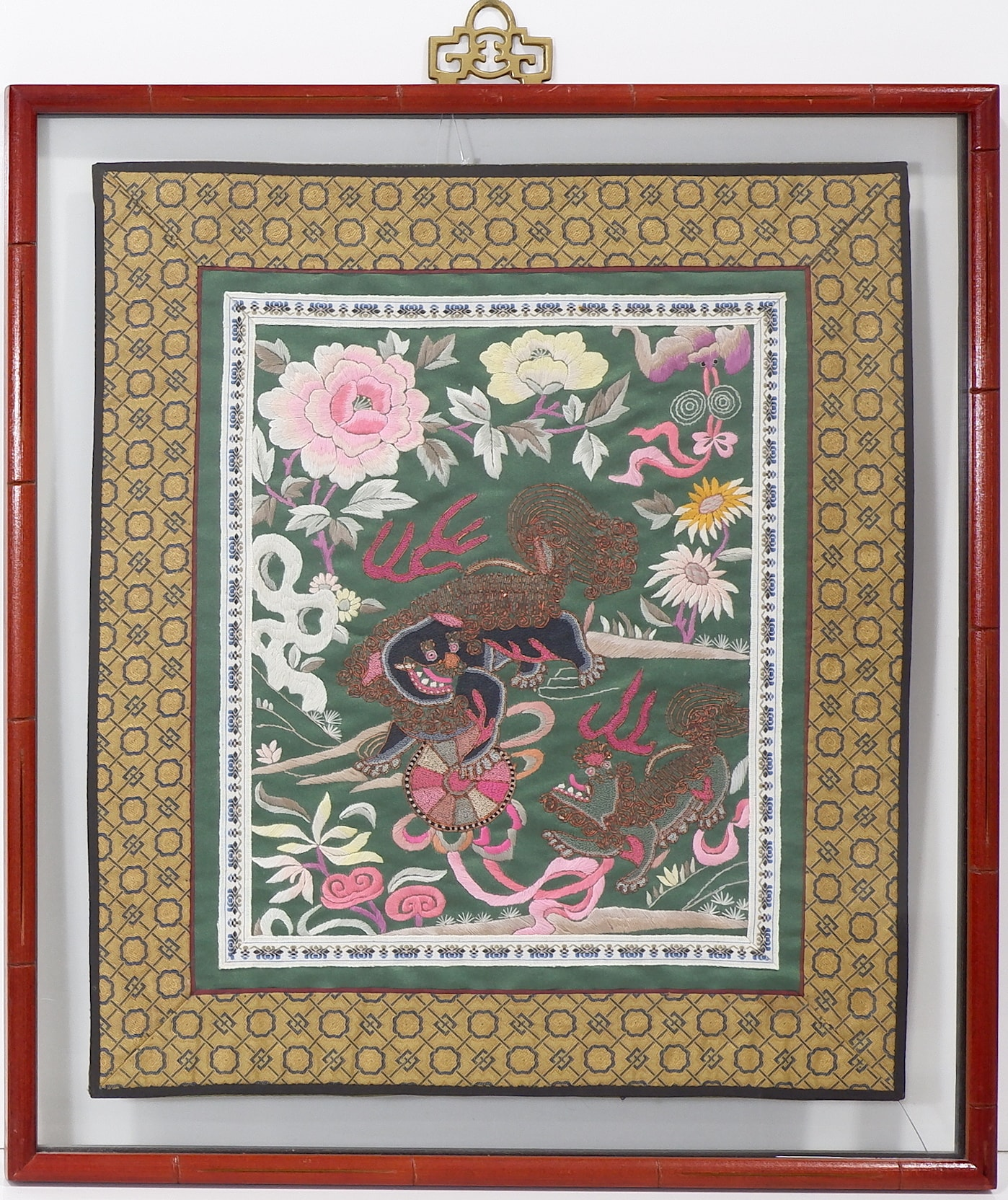'Two Framed Chinese Silk Needlework Embroideries'