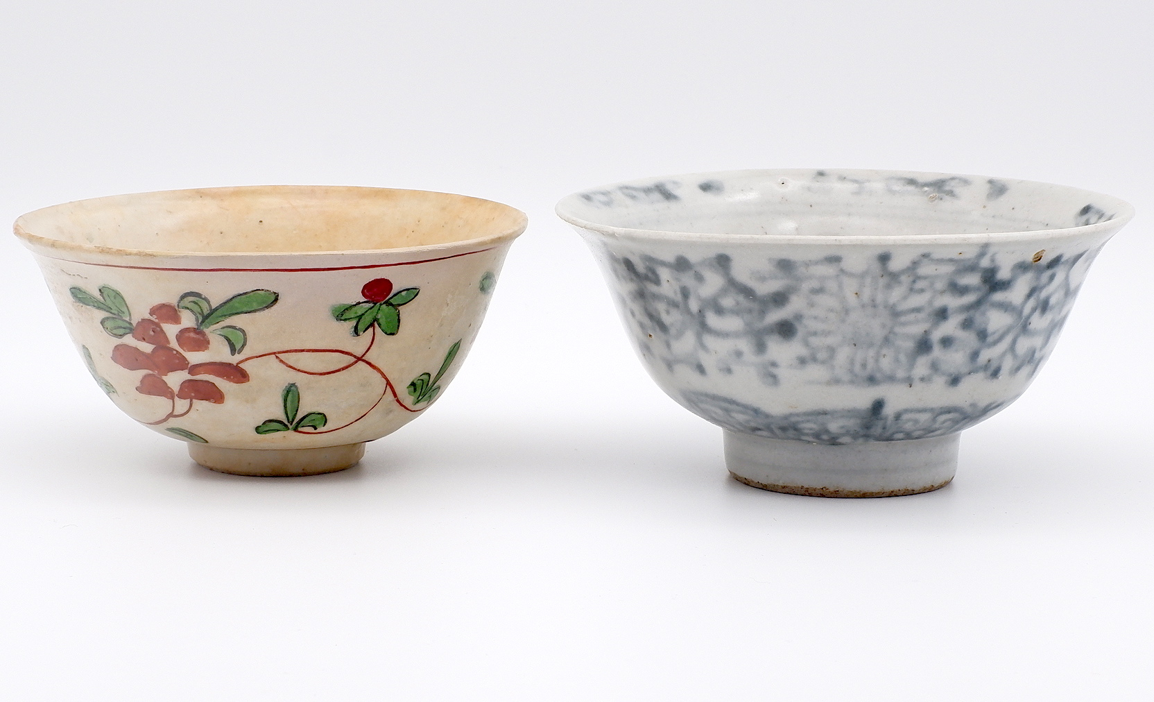 'Chinese Bowl with Red and Green Enamel and a Block Printed Blue and White Bowl'
