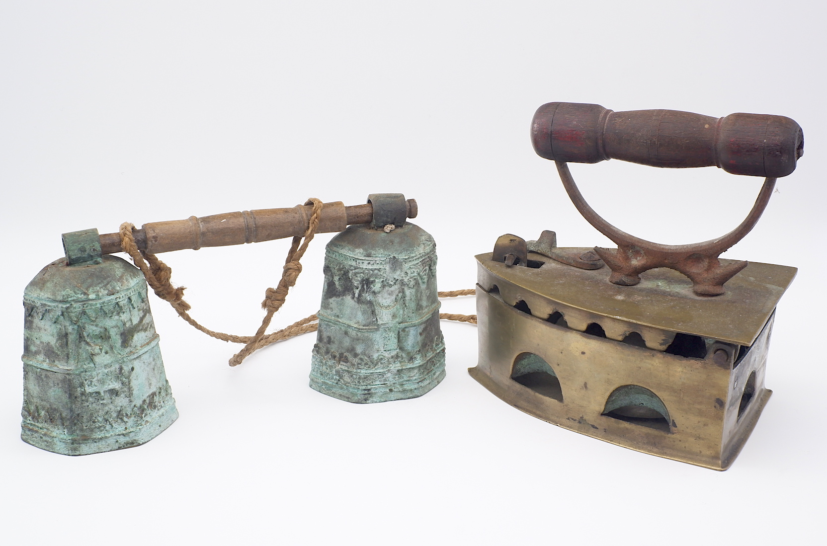 'Antique Dutch East Indies Colonial Iron and Balinese Cowbells'