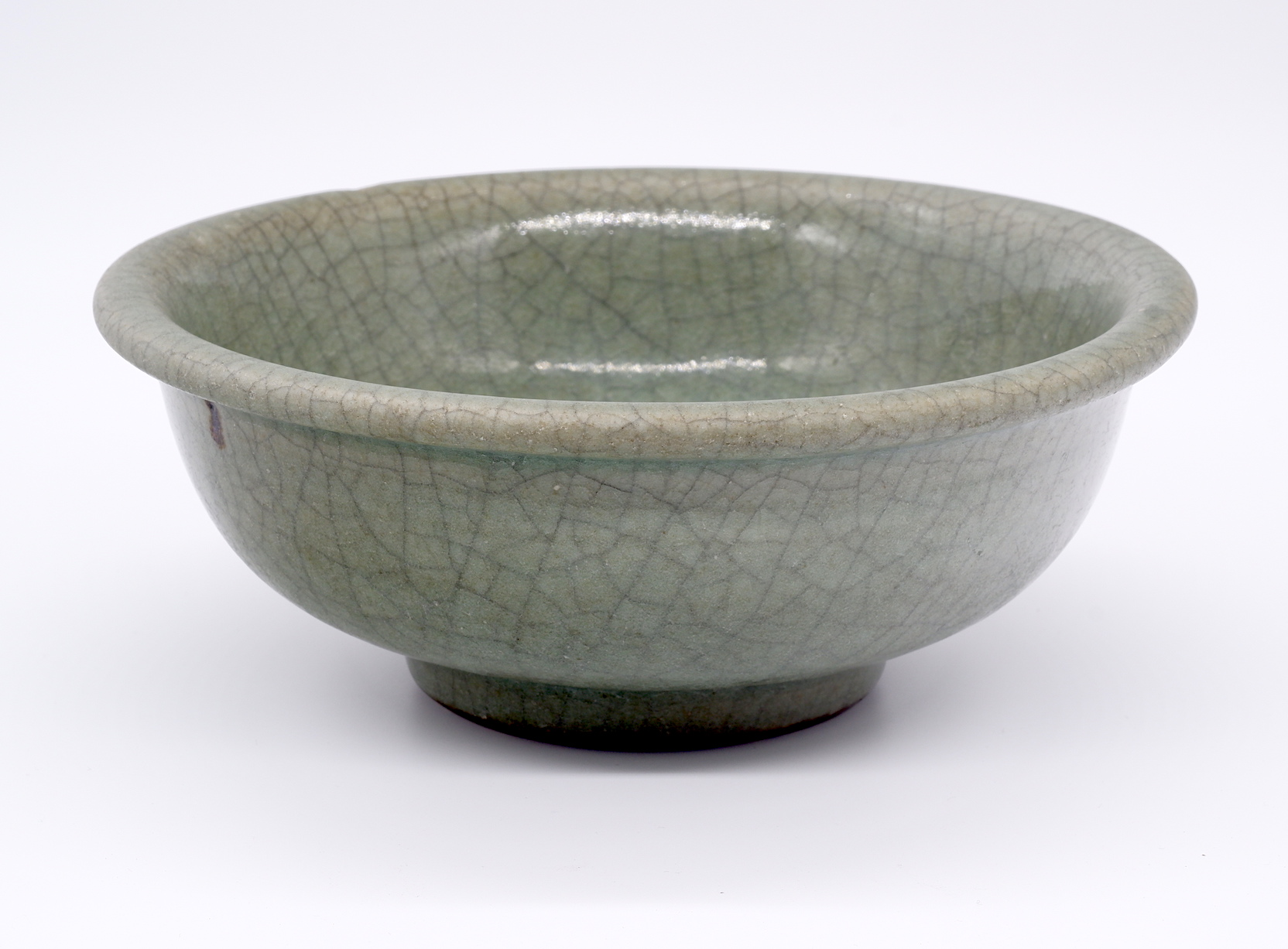 'Thickly Potted Celadon Bowl with Iron Dressed Foot 19th Century or Earlier'