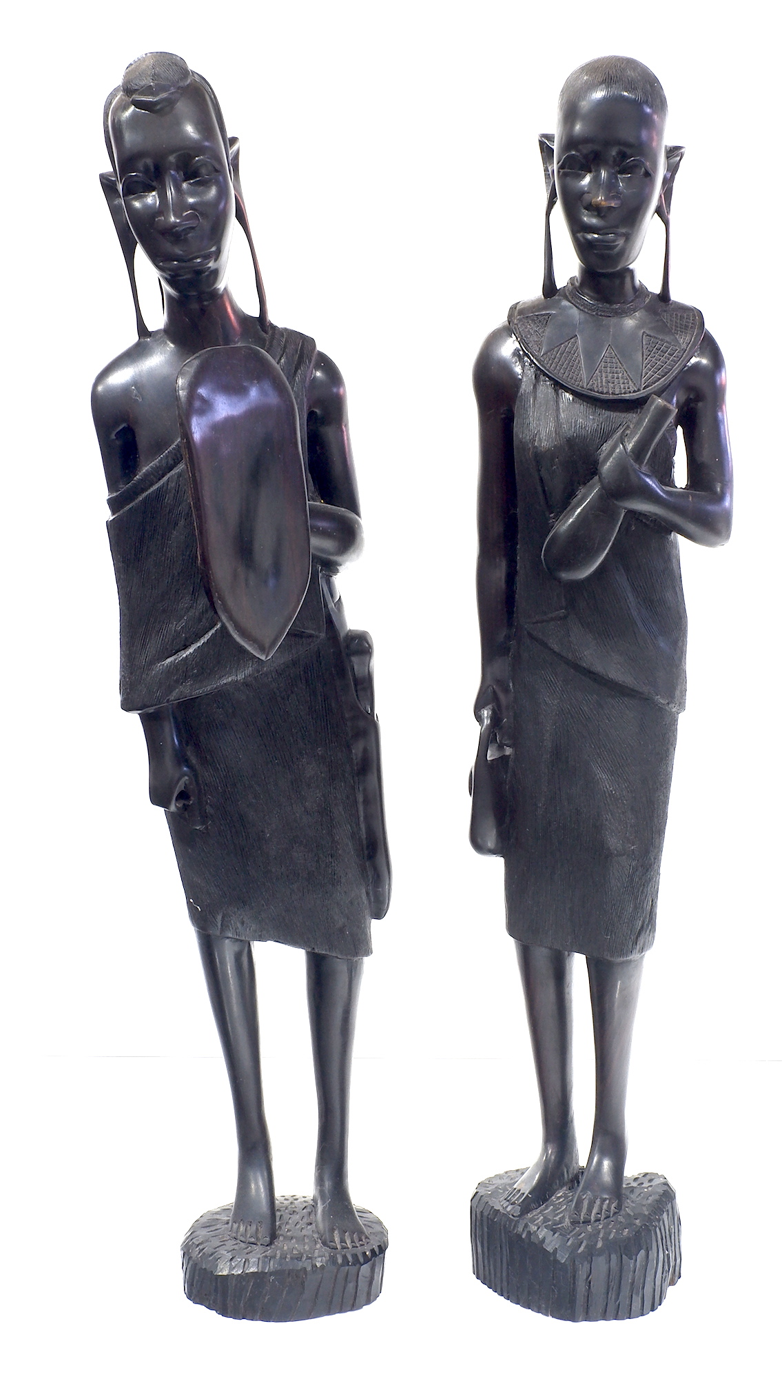 'Impressive Pair of African Carved Ebony Maasai Figures'