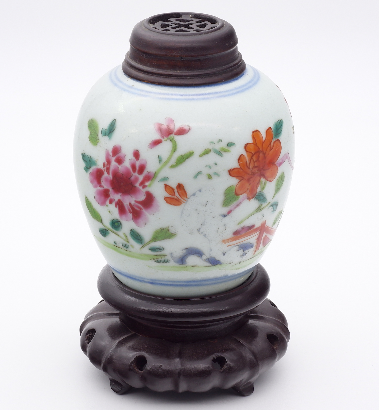 'Small Chinese Doucai Glaze Jar with Pierced Rosewood Lid 19th Century'