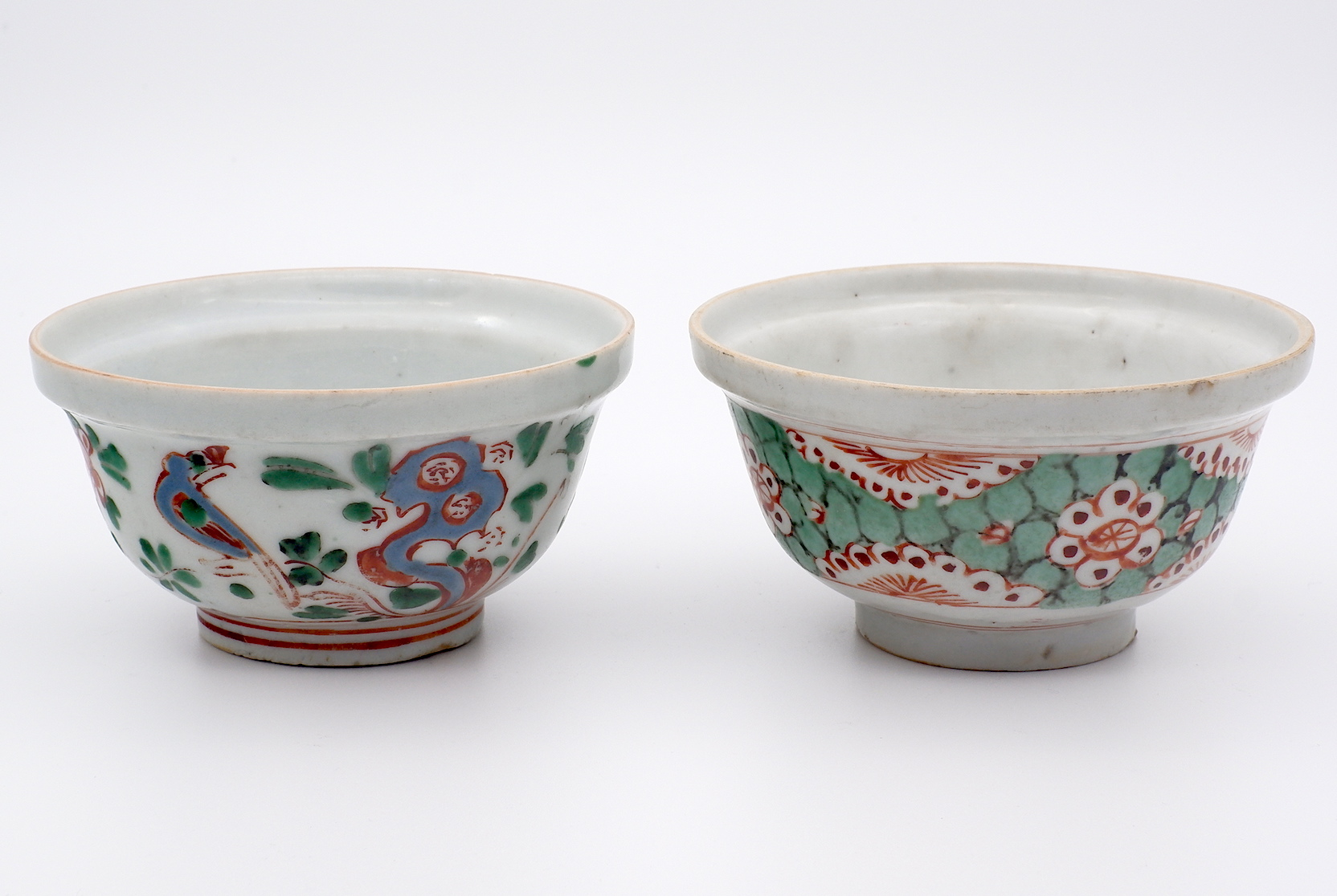 'Two Chinese Enamelled Tea Bowls with Overglaze Red, Early Qing 18th Century'