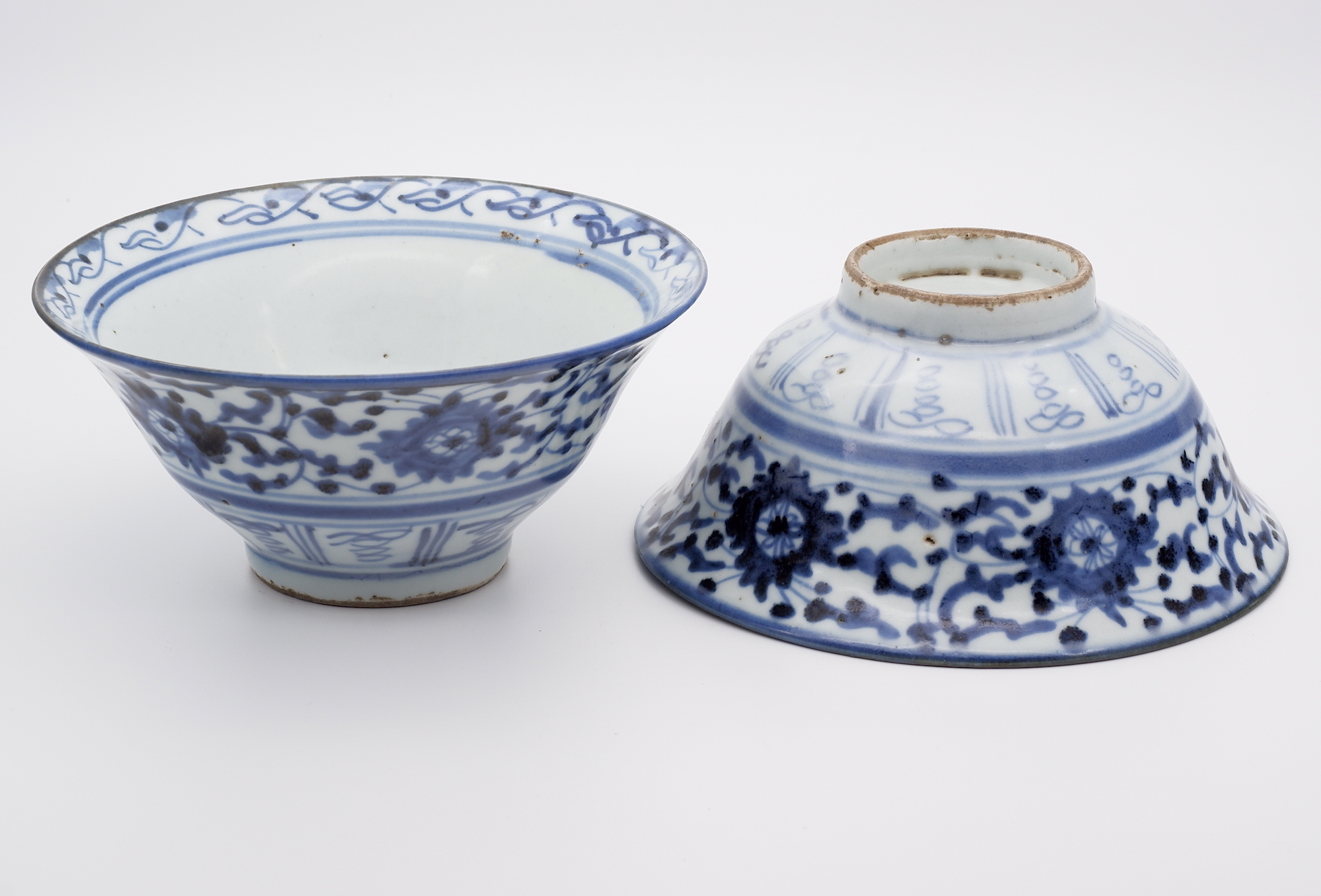 'Pair Chinese Fujian Ware Blue and White Conical Bowls Early 19th Century'