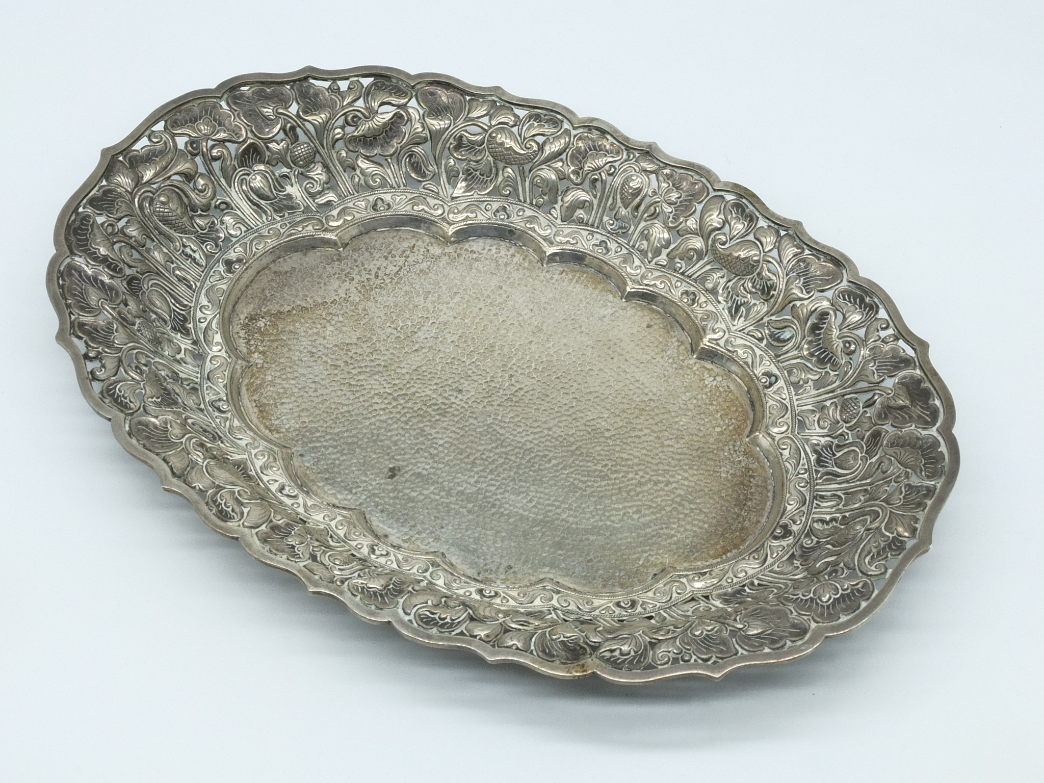 'Yogya Silver Repousse, Chased and Pierced Dish'