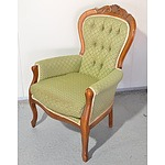 Antique Walnut Grandmother Chair with Buttoned Fabric Upholstery