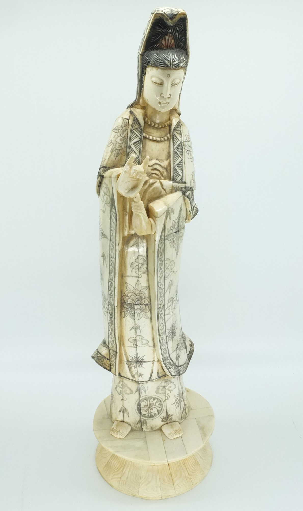 'Carved and Engraved Laminated Bone Figure of Guanyin 20th Century'
