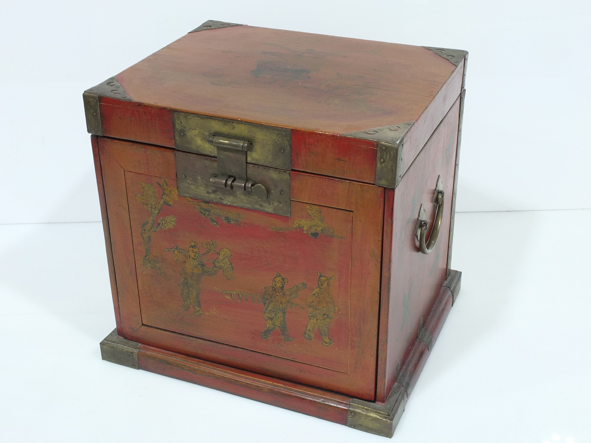 'Asian Lacquer Decorated Wood and Brass Mounted Vanity Box'