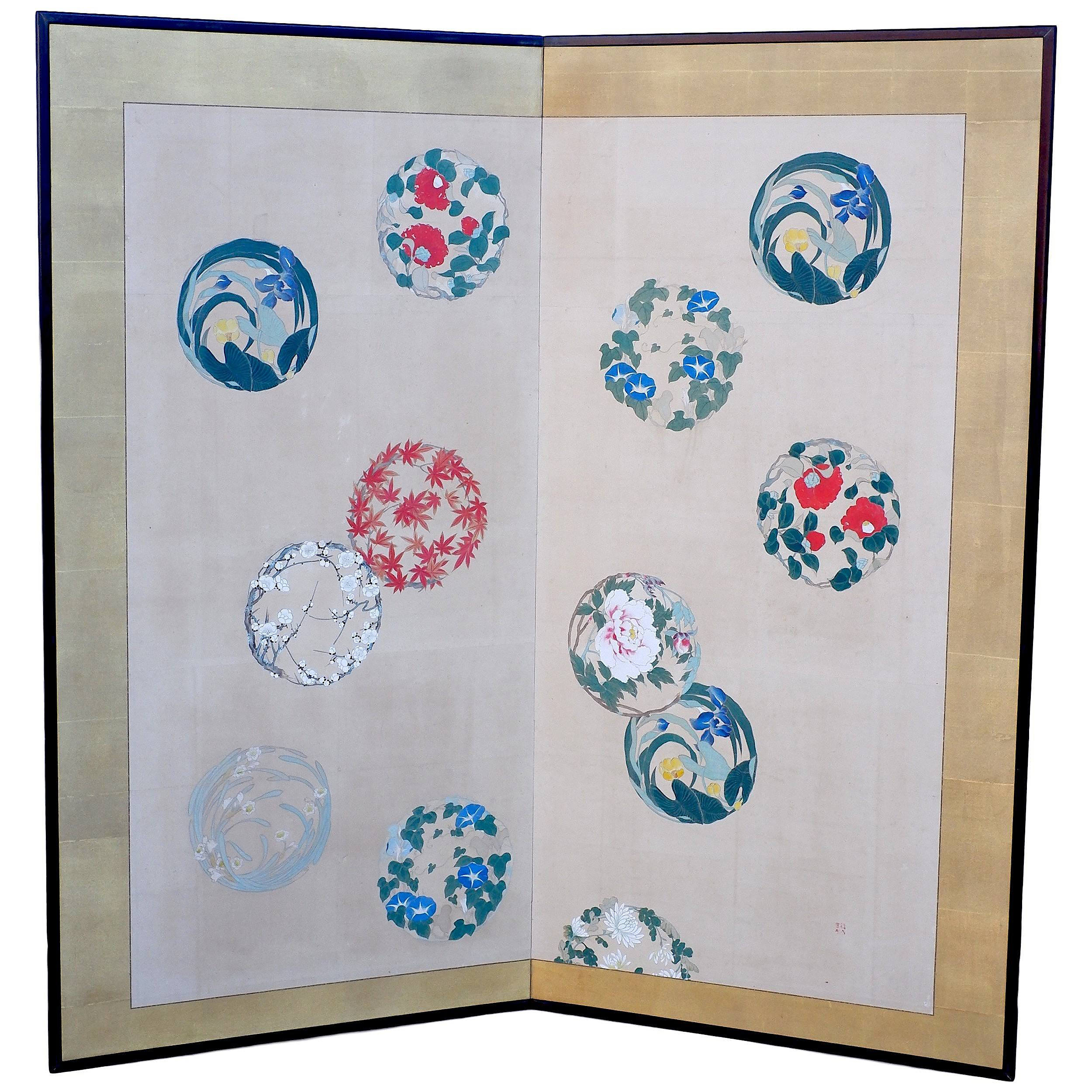 'Japanese Black Lacquer and Paper Screen Painted with Foliate Roundels'