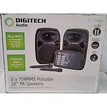 "DigiTech Audio CS-2565 10"" PA Speaker System w/ 2 Channel Wireless UHF Microphones - RRP: $729.00"
