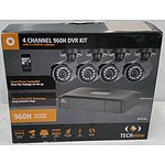 Techview 4 Channel 960H DVR Kit w/ 4 x 650TVL Cameras - RRP: $399.00