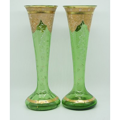 Pair of Victorian Tapered Green Glass and Enamel Vases