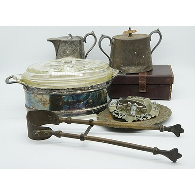 Silver Plated Glass Pyrex Dish, English Silver Plated Milk Jug with Matching Scurier, Fireplace Tongs, Two Silver Plated Ash Trays and Gentlemens Wrist Watch
