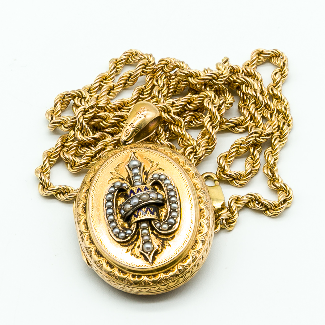 'Antique 15ct Yellow Gold Locket with Seed Pearl and Enamel Emblem with 9ct Yellow Gold Twisted Rope Chain'