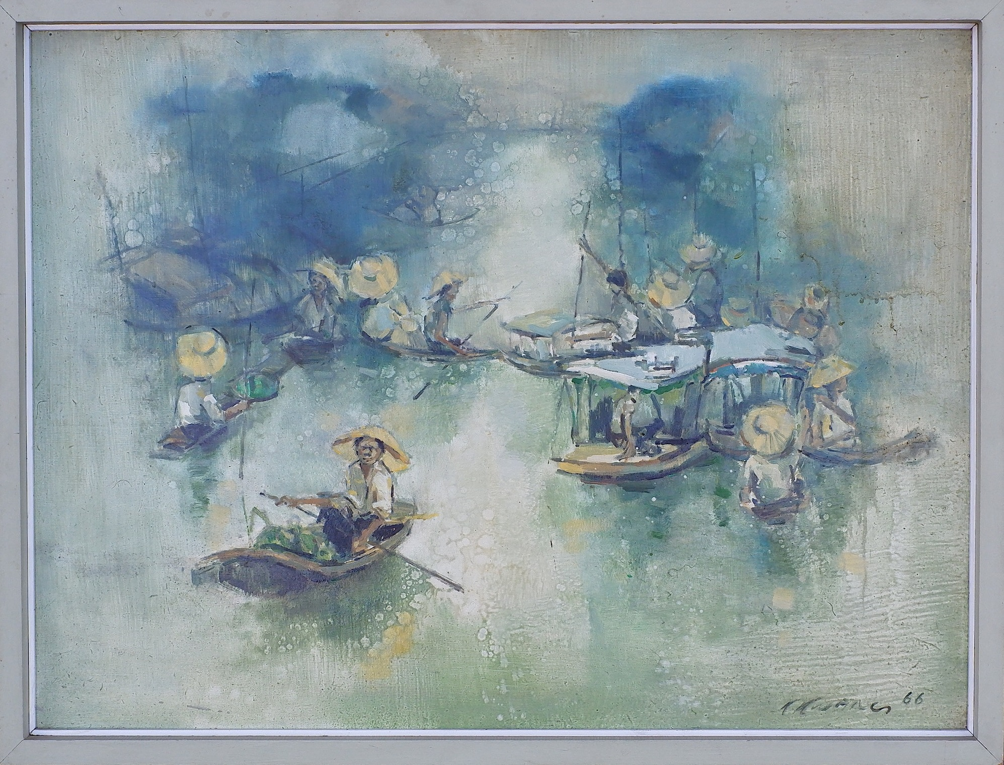 'Choo Keng Kwang (B.1931 Singapore) Floating Market 1966, Oil on Board'