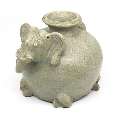 Thai Sawankhalok Style Celadon Elephant Vessel, 20th Century or Earlier