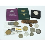 Group of Collectable Coins, Including Silver Jubilee Commemorative Coin Set, NSW 1830 Coin, Three 1966 Australian 50c Coins and More