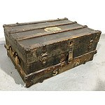 Metal and Hardwood Bound Steamer Trunk