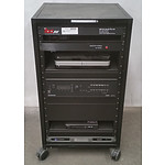 Black Wheeled Server Rack w/ Assorted AV Appliances