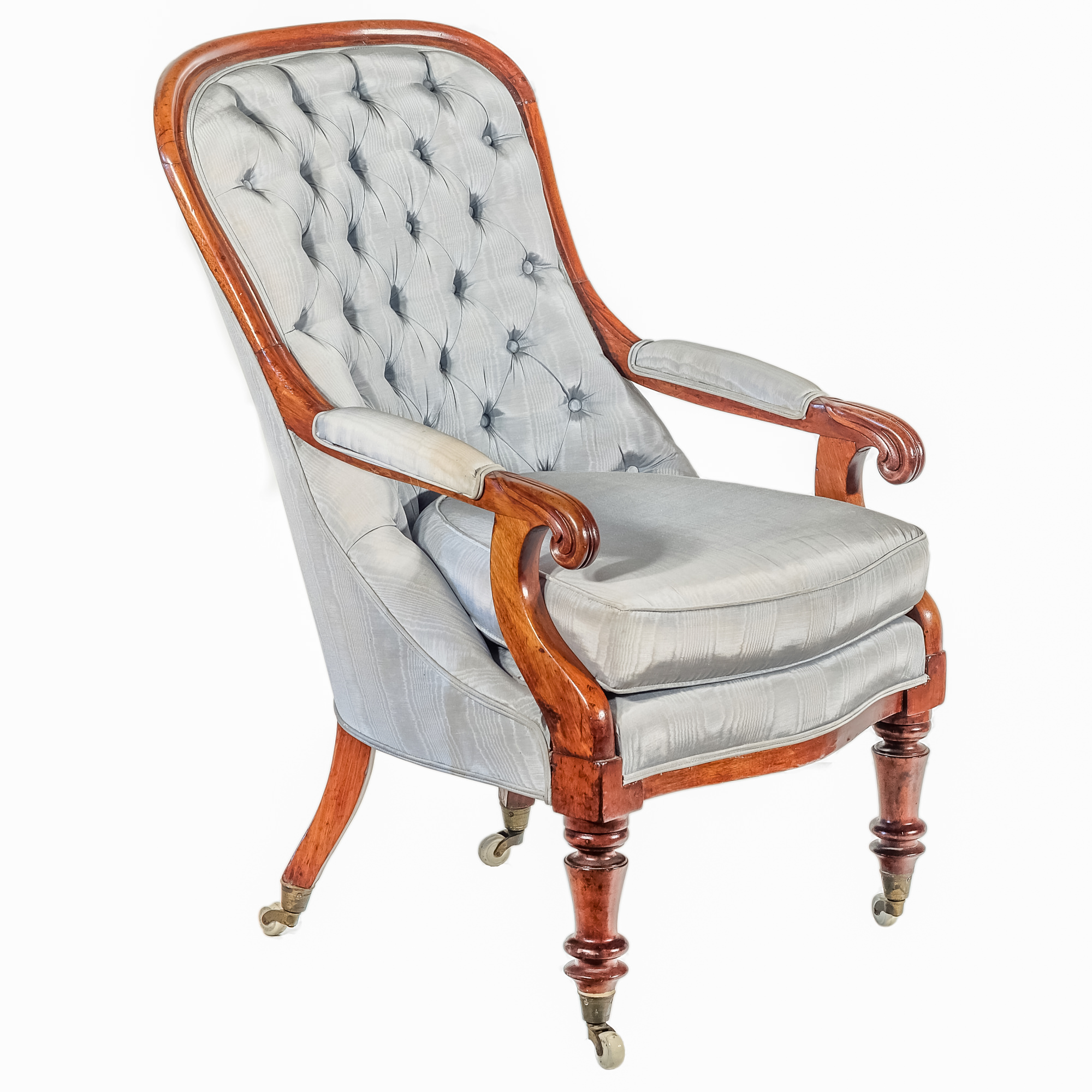 'Victorian Mahogany Armchair with Diamond Buttoned Upholstery in Pale Blue Circa 1870'