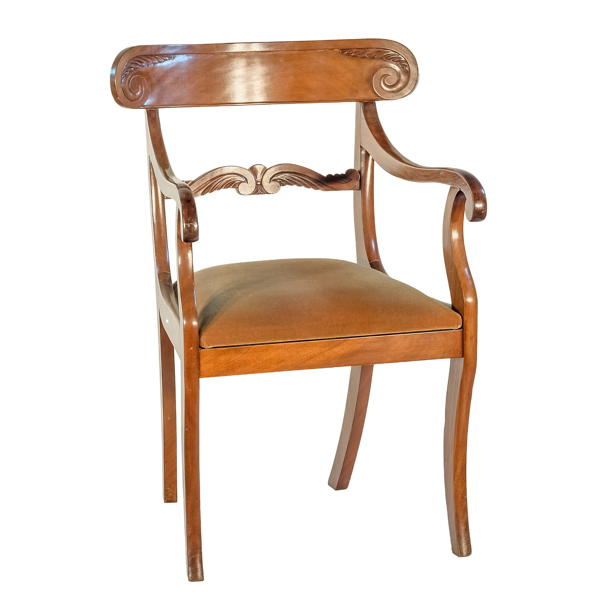 'William IV Mahogany Sabre Leg Elbow Chair with Brown Velvet Seat Circa 1835'