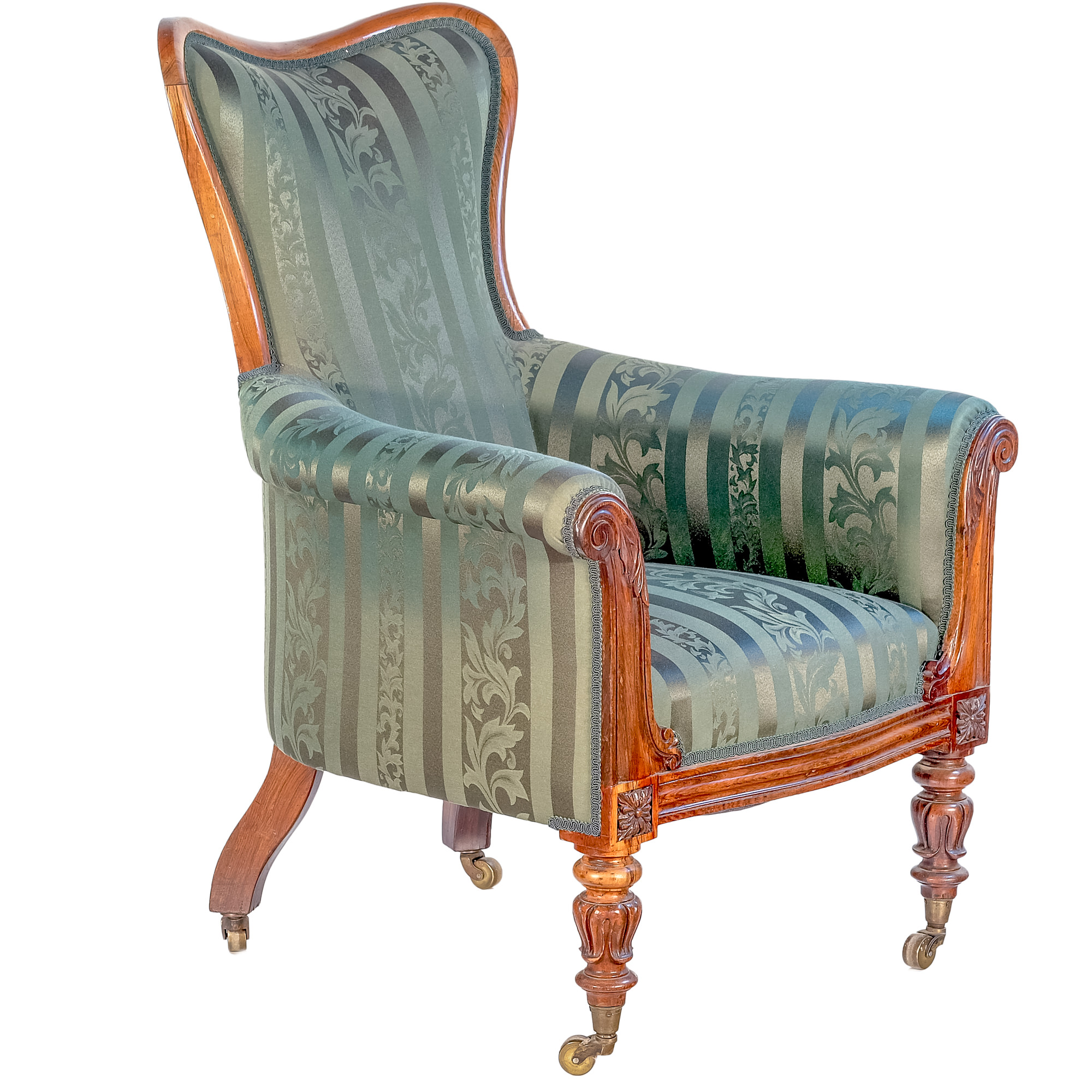 'William IV Brazilian Rosewood Upholstered Drawing Room Chair Circa 1835'