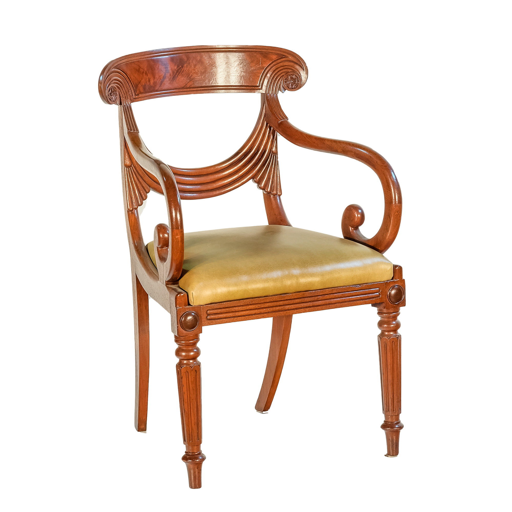 'Regency Period Mahogany Elbow Chair with Olive Green Leather Seat Circa 1820'