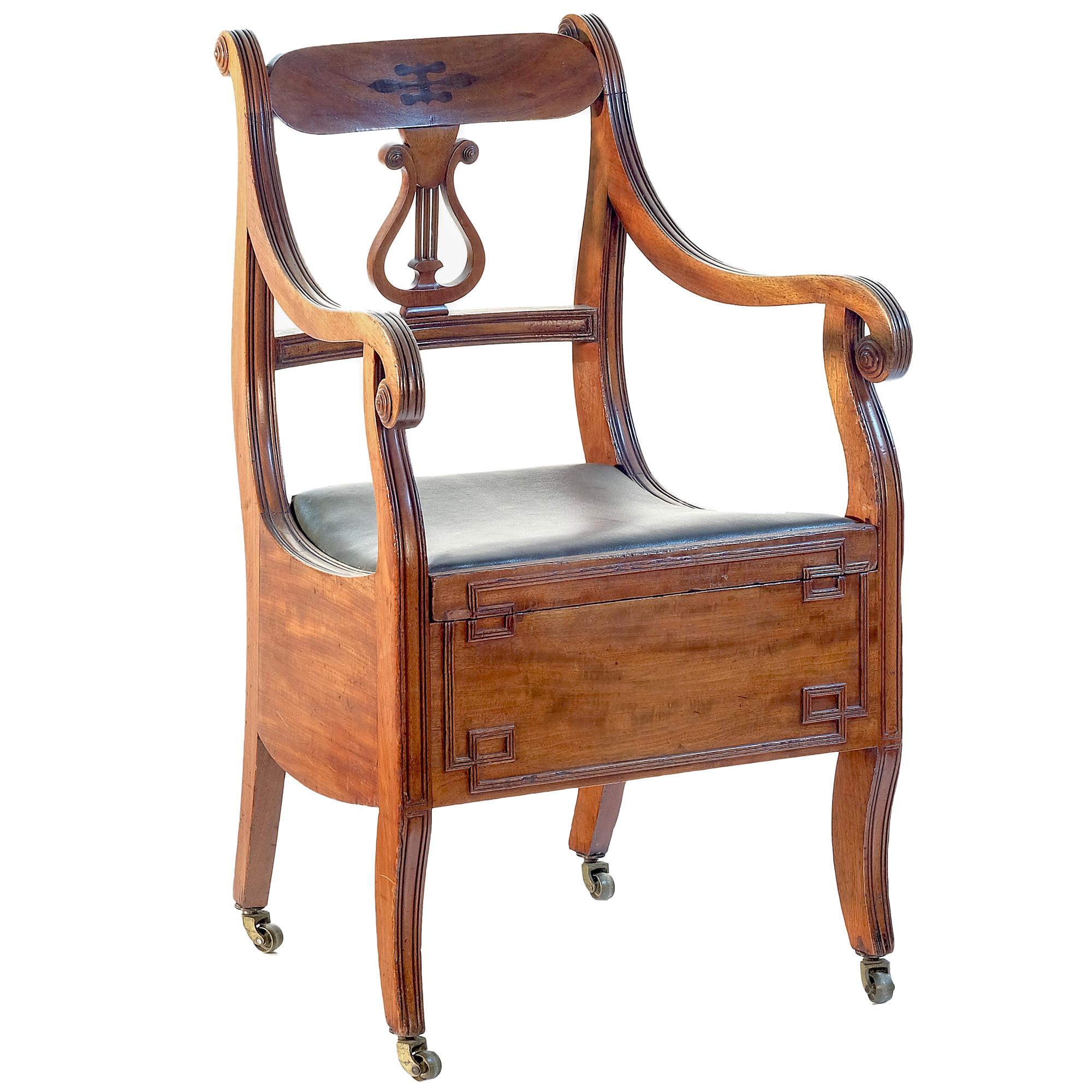 'Regency Period Lyre Back Mahogany Commode with Purpleheart Inlay Circa 1815'