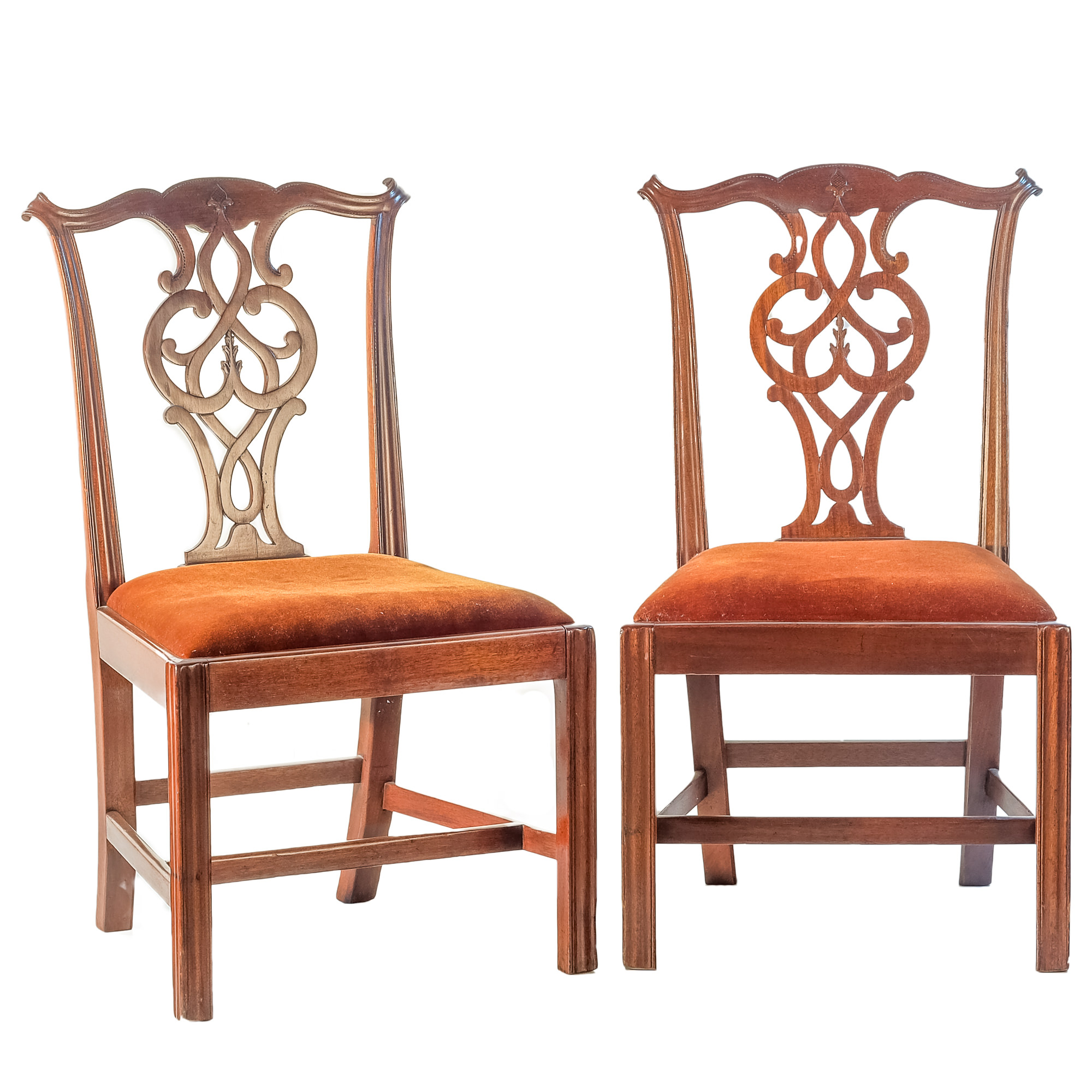'Pair Mahogany Chippendale Style Chairs with Red Brown Velvet Seats 19th Century'