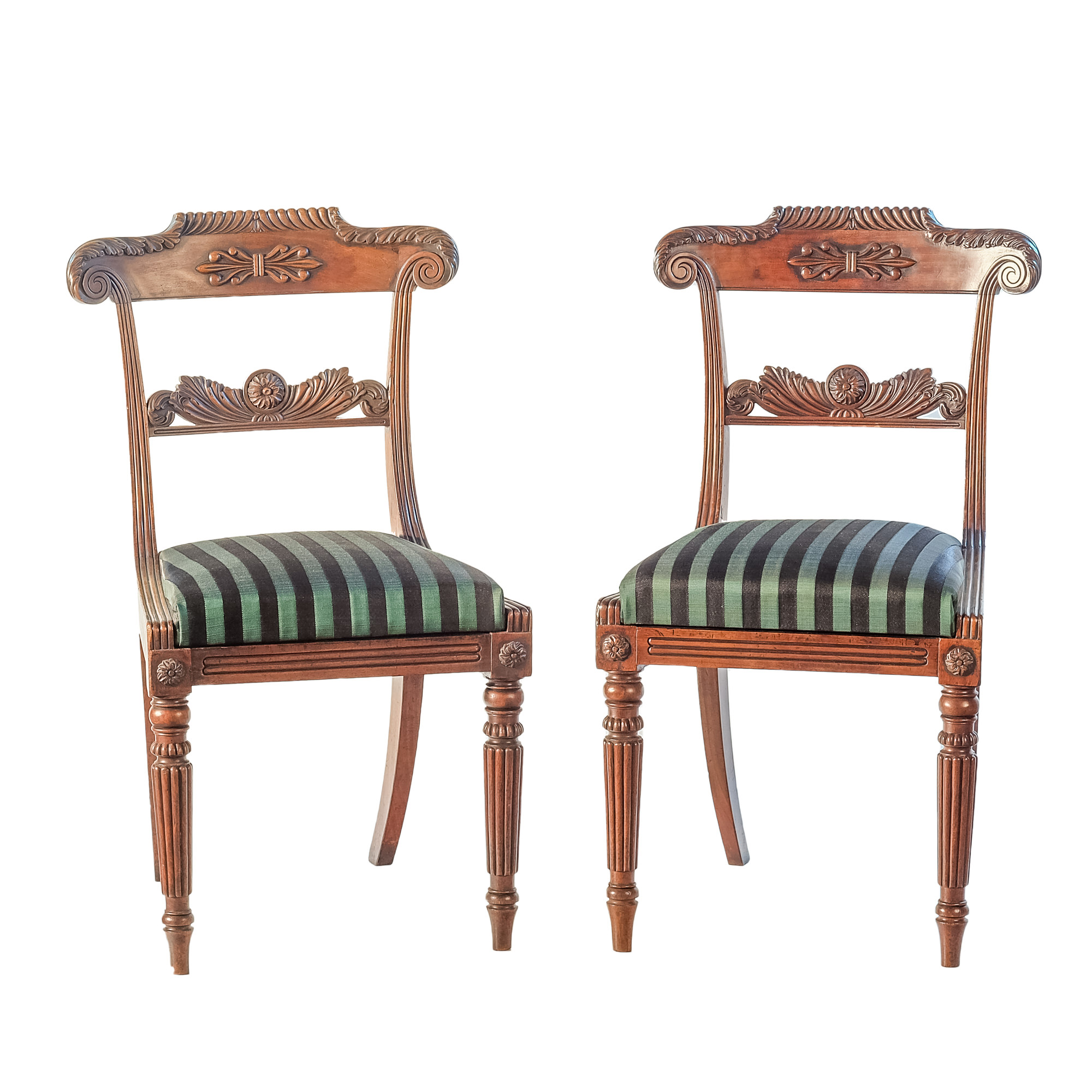 'Pair Finely Carved Regency Period Mahogany Chairs with Striped Green and Black Horsehair Upholstery Circa 1820'