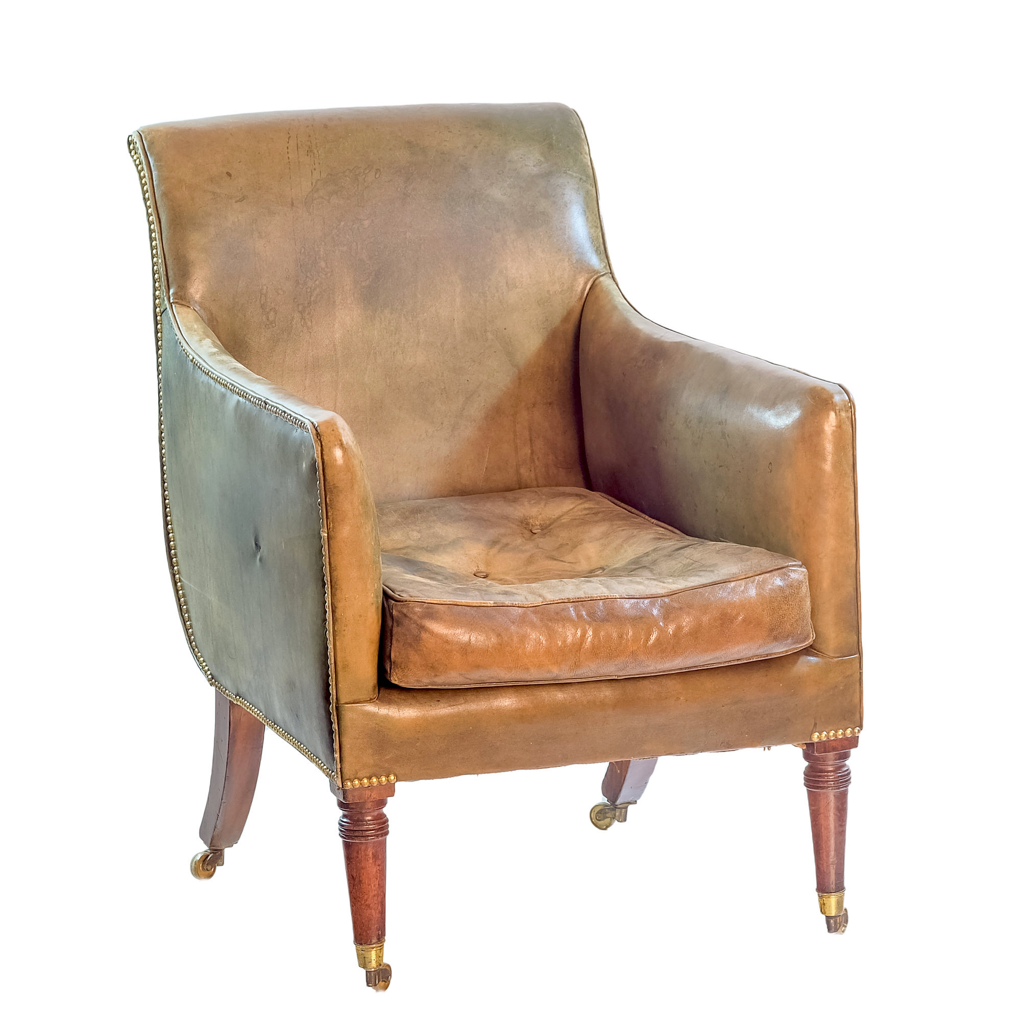 'Regency Period Mahogany and Green Leather Upholstered Drawing Room Chair Circa 1820'