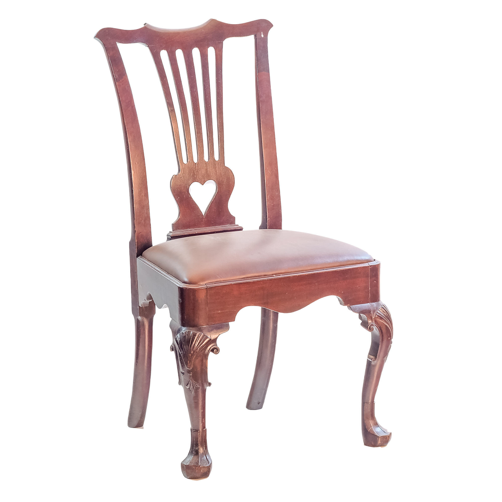 '18th Century Irish Chippendale Mahogany Side Chair with Shell Motifs to Knees and Trefid Feet'