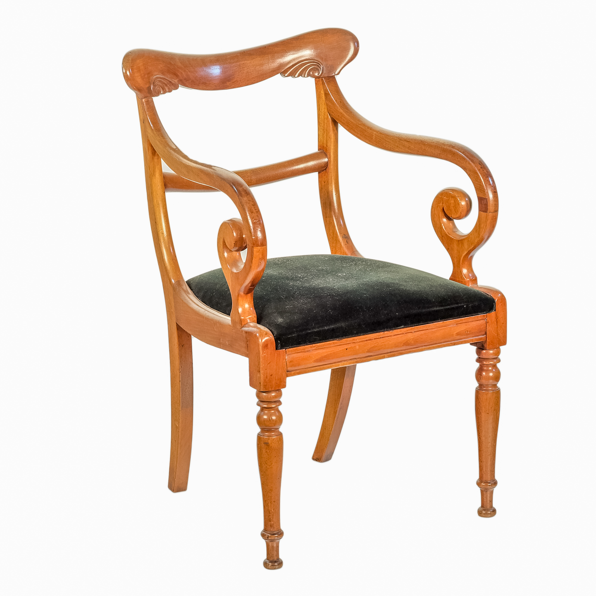 'William IV Mahogany Scrolled Elbow Chair with Dark Green Velvet Seat Circa 1835'