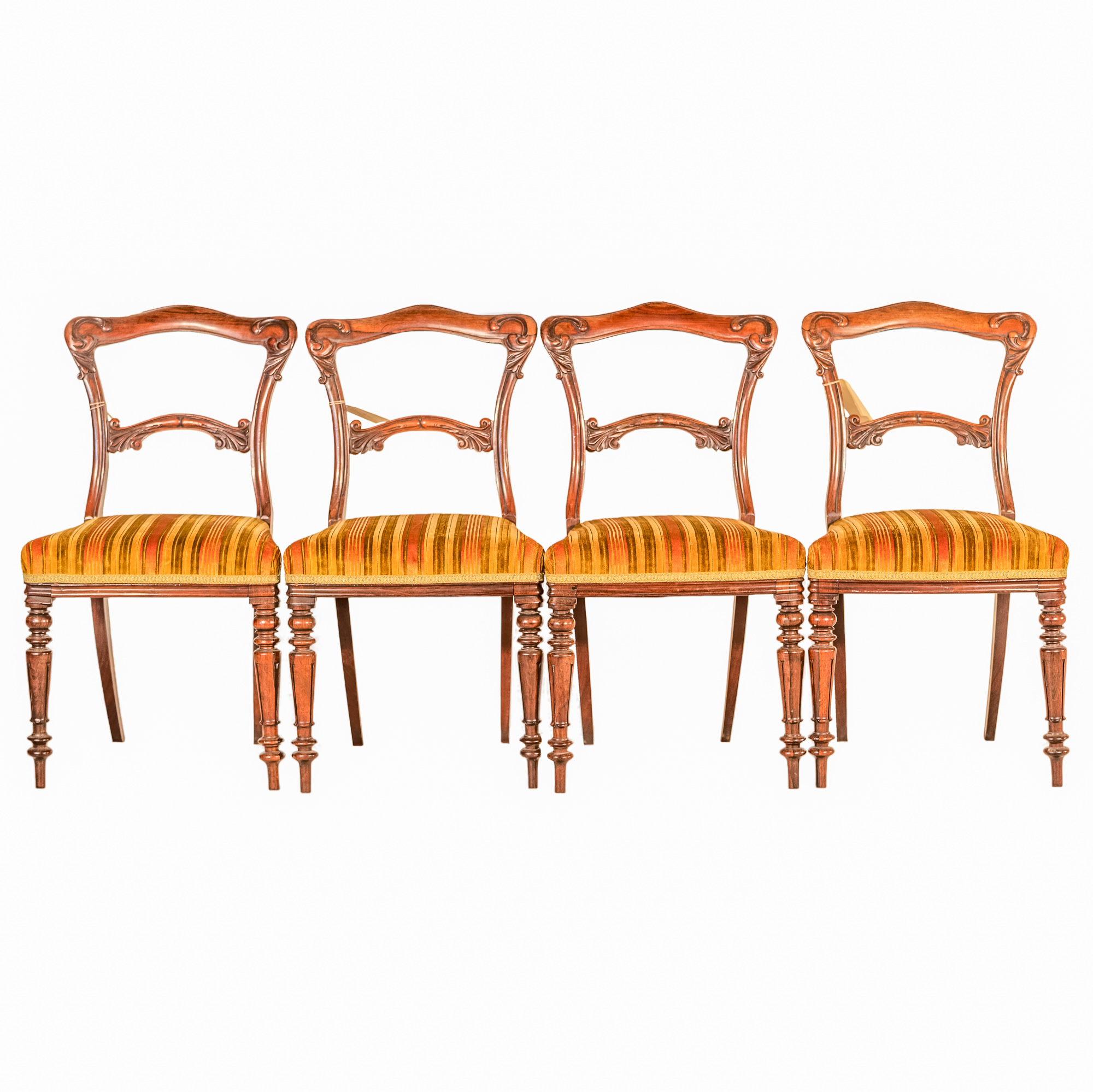 'Four Early Victorian Rosewood Dining Chairs Upholstered in Striped Velvet Circa 1850'